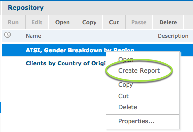 Create Report from Repository